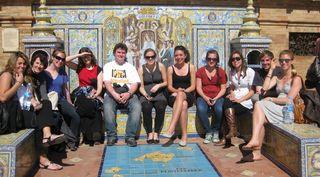 Grupo en Plaza de España