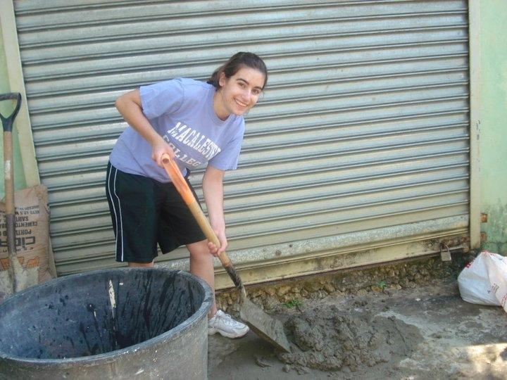 Shovelling cement