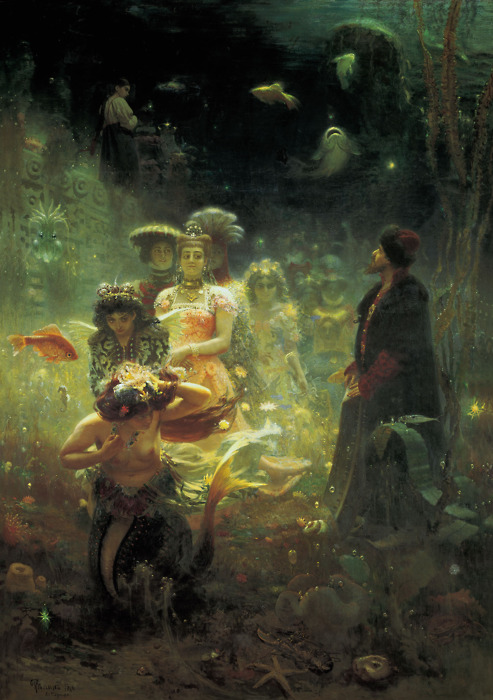 Sadko in the Underwater Kingdom, 1876 (State Russian Museum) by Ilya Yefimovich Repin  How beautiful is this? This is my absolute favorite Repin painting ever and not only did I get to see it up close and personal this morning but I also bought a print of it for only 15 rubles! Thats liiikeee 50 cents. YAY!