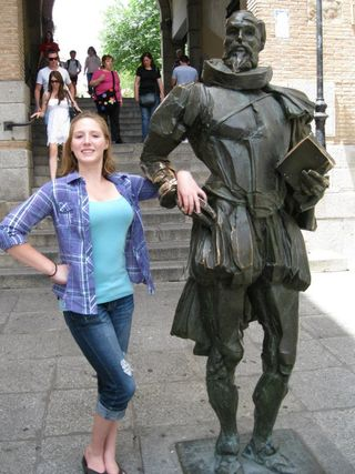 Sarah Shires and Statue