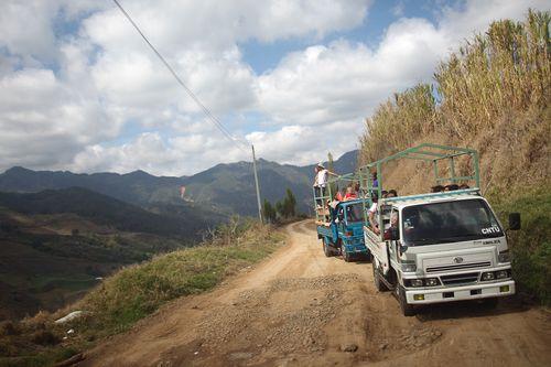 Safari trucks en route to Aguas Blancas