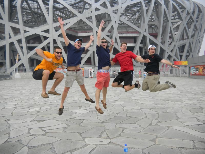 rocking out in front of the Bird's Nest, Beijing