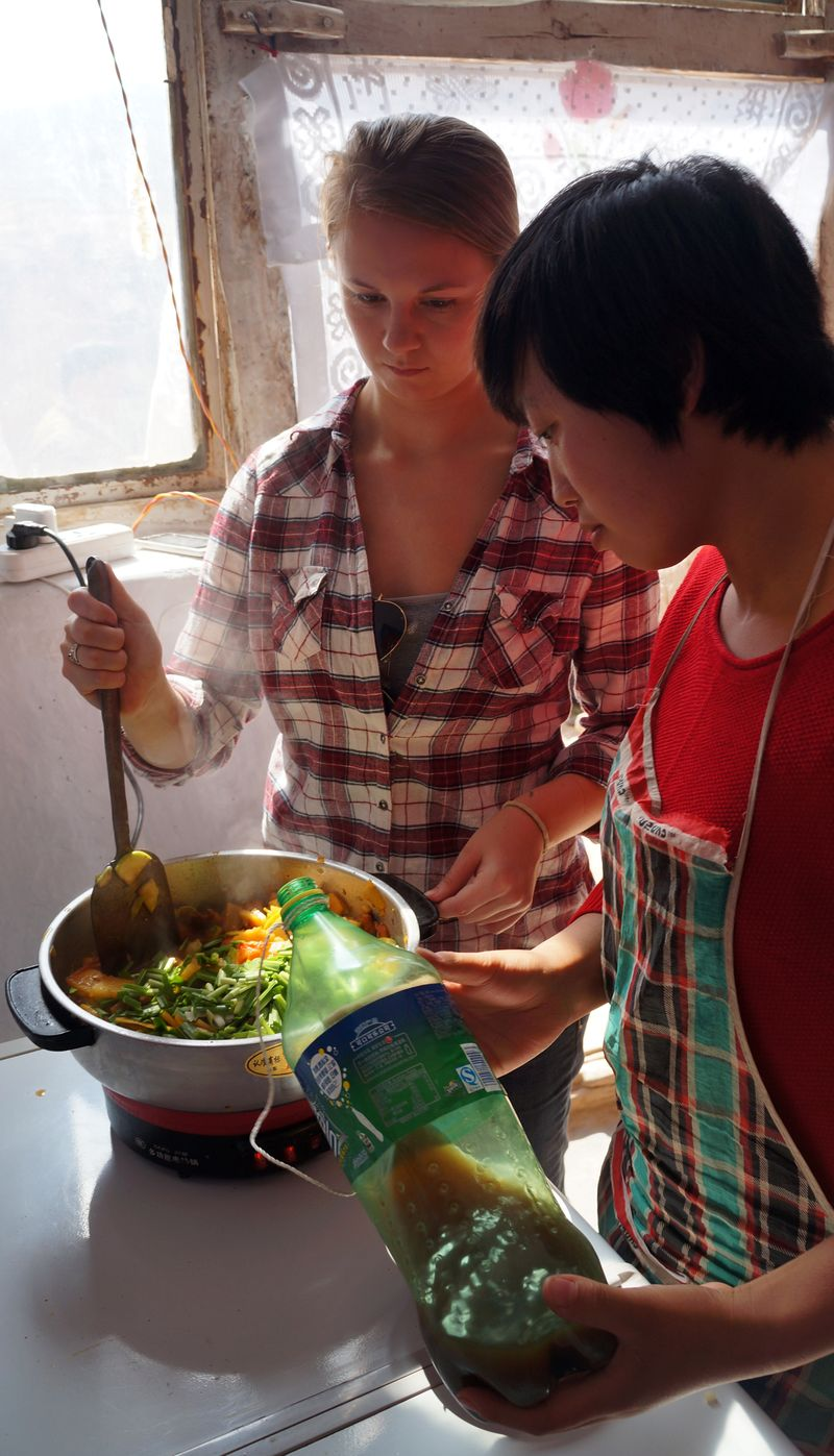 CIEE Beijing - Rural Excursion Host Sister and Student make Lunch