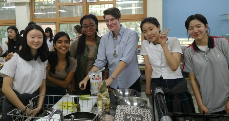 Cooking class with HS student