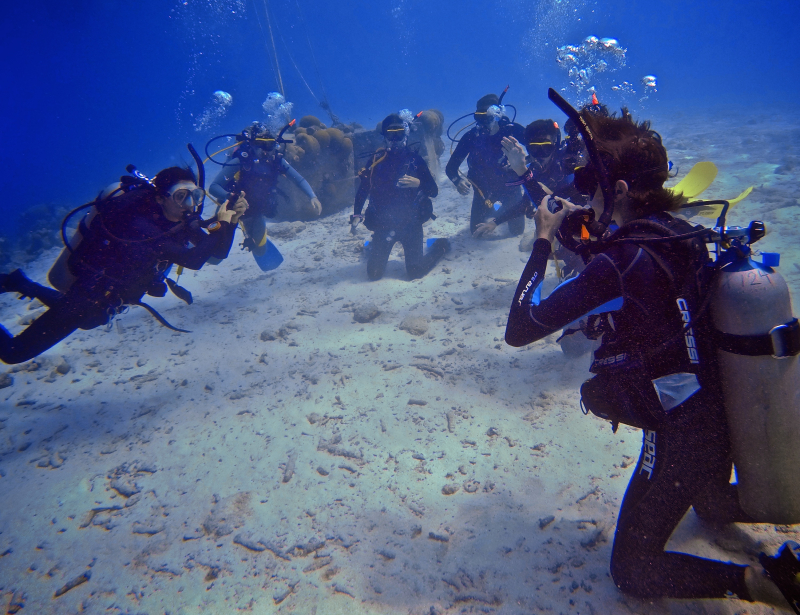 Sara scuba training