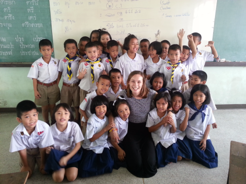 Alyssa with students in Thailand