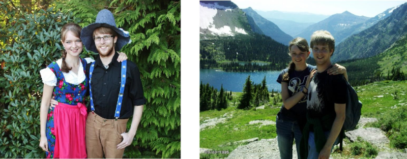 L: In Germany, going to the Oktoberfest. R: Hiking at Glacier National Park