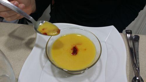 Crema de calabaza con aceite de sobrasada