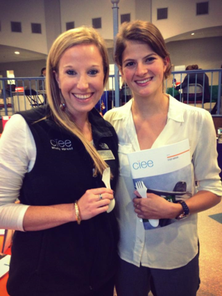 Marie Bebear and Allison Gjeltema at Colby College during the 2014 study abroad fair