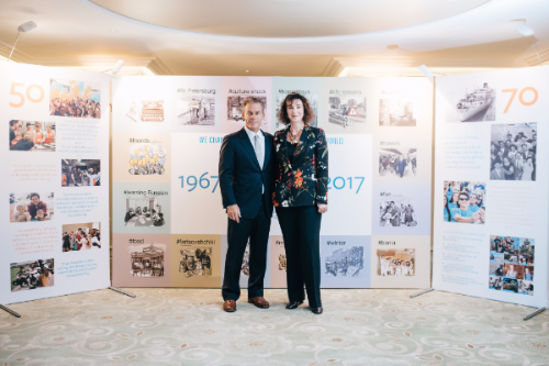 Jim Pellow and Irina Makoveeva at CIEE St. Petersburg 50th anniversary celebration.