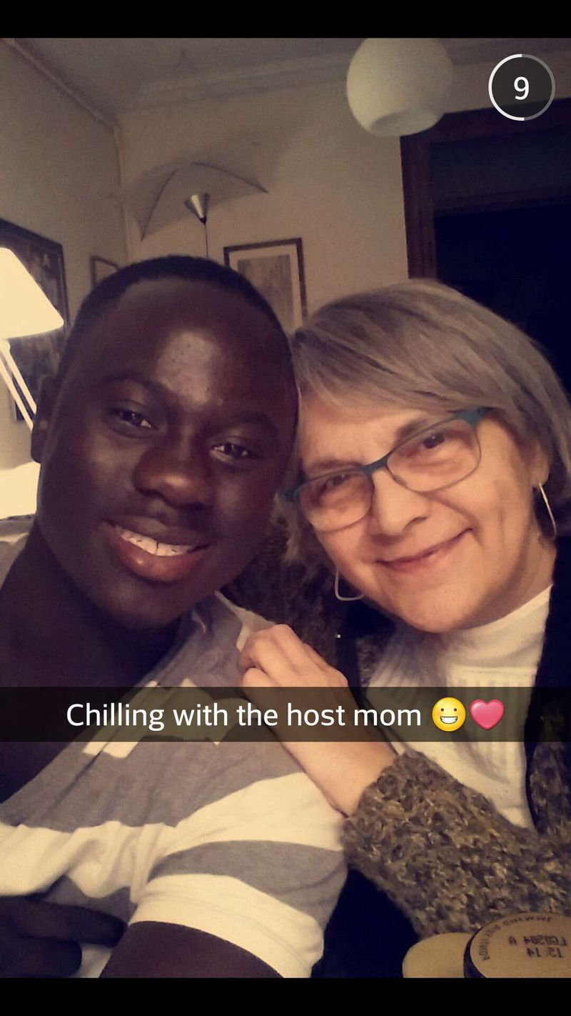 Ibrahima Thiam Chilling with host mom_HFT