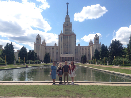 At Sparrow Hills, in front of 53-storied building of Moscow State University