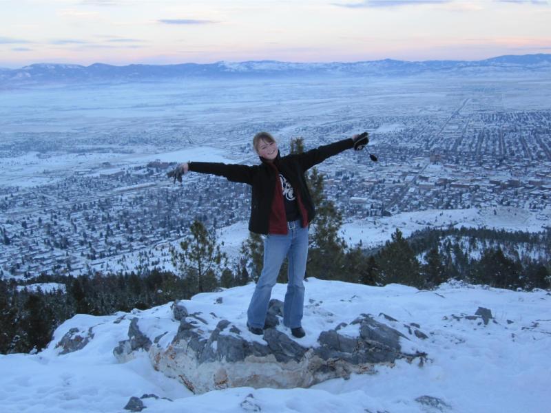 Franziska on top of Mount Helena