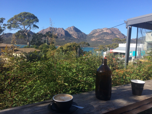 Look at The Hazards from a cafe in Coles Bay